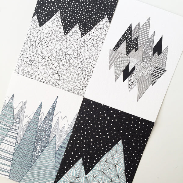 Set of 4 mountain A6 Prints / festive card set