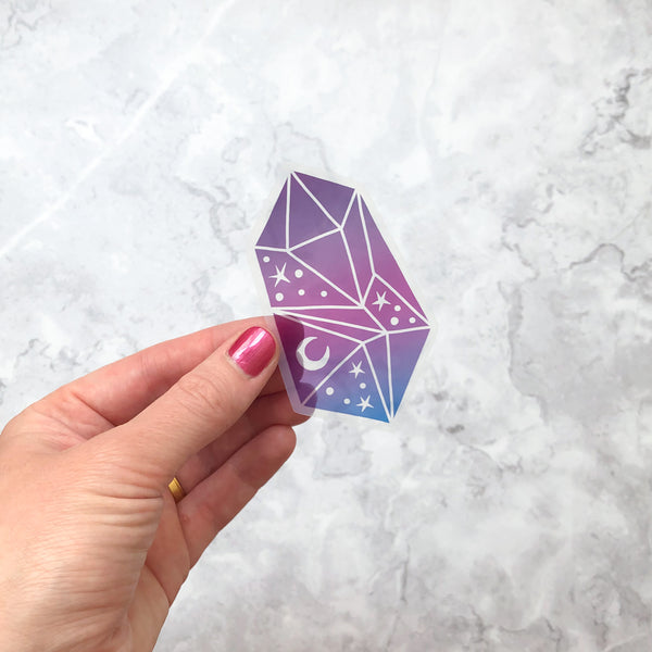 Clear Vinyl Ombre Celestial Crystal Sticker