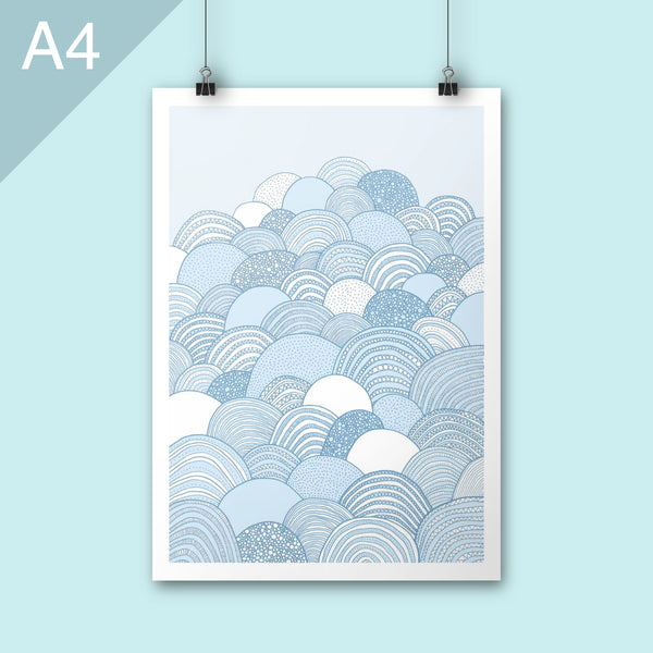 A4 Illustration print of clouds