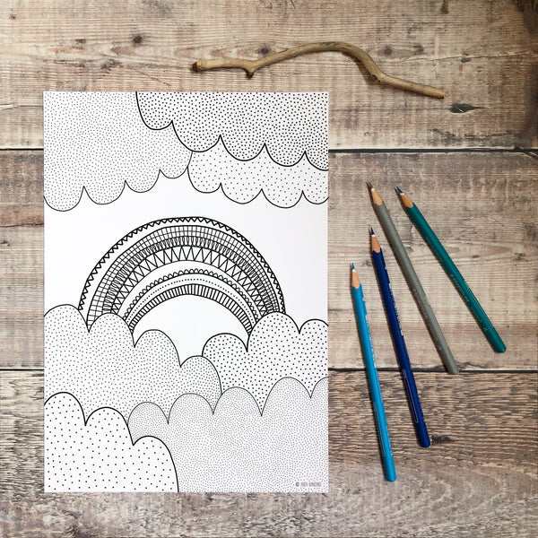 FREE Rainbow Colouring Page
