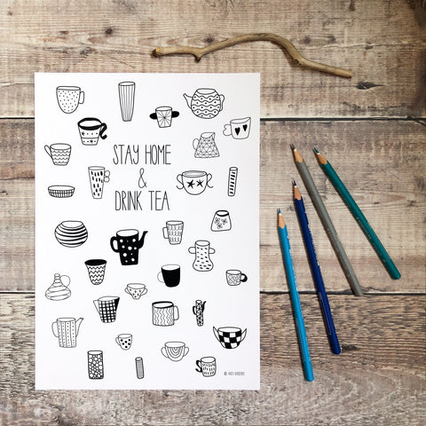 FREE Stay Home and Drink Tea Colouring Page