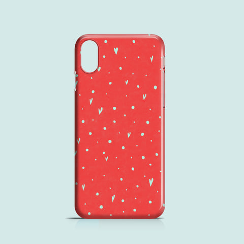 coral hearts iPhone XS cover made of PC