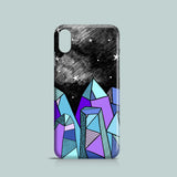iPhone XS case with drawing of crystals