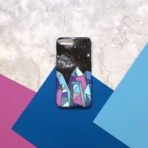Crystal drawing iPhone 7 Plus case flatlay