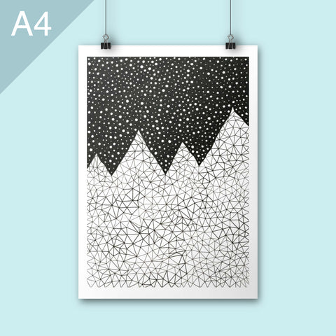 Black and white abstract mountain illustration print in A4 size