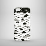 Black and white ocean illustration phone case