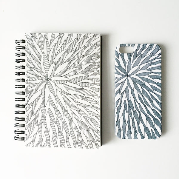 Leaf pattern iPhone 5 case displayed next to sketchbook