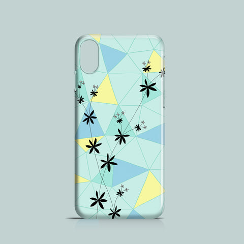 iPhone XR case with flower silhouette on pastel geometric background