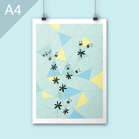 A4 print of floral illustration on geometric background
