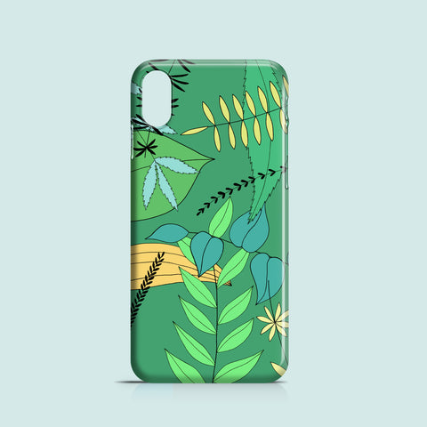 spring leaves illustrated iPhone XR case