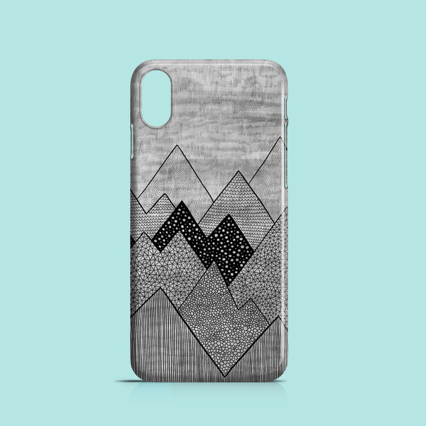grey iPhone X case with mountain motif