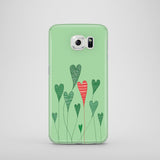 Heart shaped leaves drawing on green Samsung S6 case