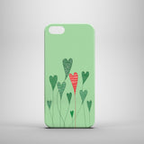 green iPhone SE case with illustration of heart plants