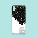 house in the night monochrome illustration on iPhone X case
