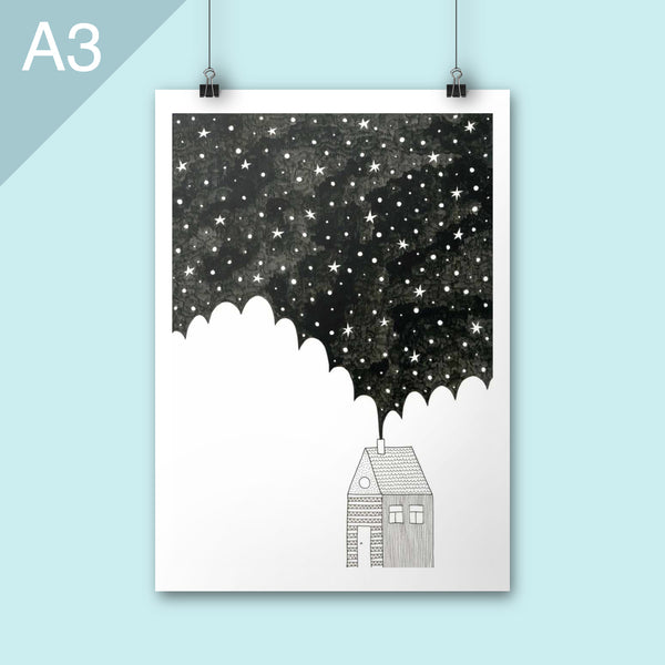 A3 illustration print of house under starry sky