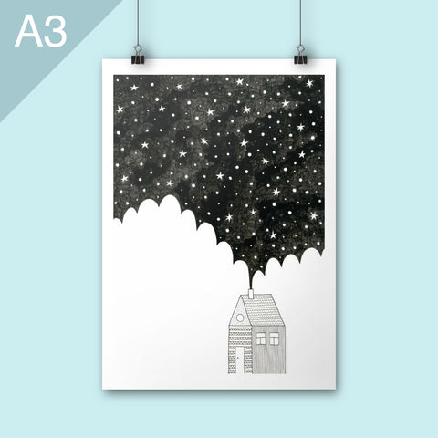 House in the Night A3 Art print