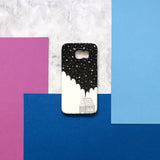 black and white celestial phone case with small house illustration