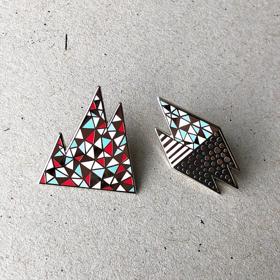 Set of 2 geometric enamel pins