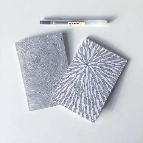 Set of 2 notebooks with linework illustrations