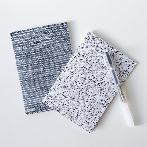 Monochrome ink pattern A6 notebook set of 2
