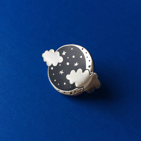 Moon and Clouds enamel pin, Lapel pin