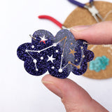 Cloud constellation necklace in purple glitter