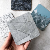 Geometric stripe pattern melamine coaster