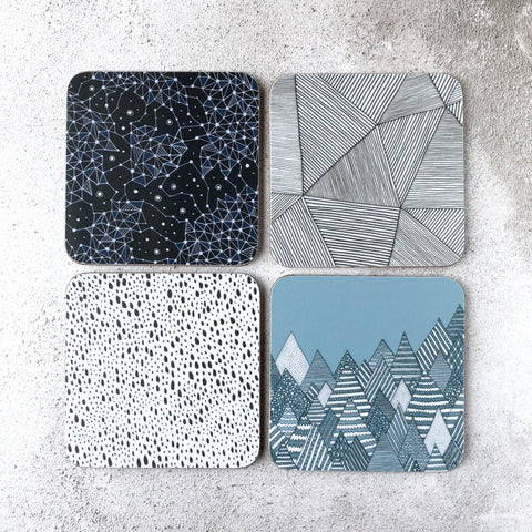Set of 4 illustrated melamine coasters