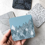Winter forest illustration melamine coaster