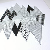 Close up of black and white graphic mountain illustration print