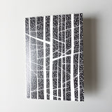 Monochrome tree greeting card on white background