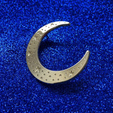 Celestial moon gold pin badge