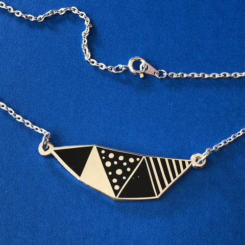Celestial geometric enamel necklace