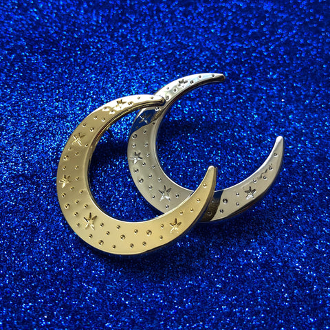 Celestial moon die struck badge