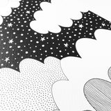 close up detail of monochrome cloud illustration print