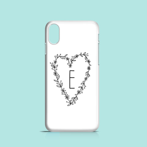 Initial Floral Heart iPhone case, Samsung Galaxy case