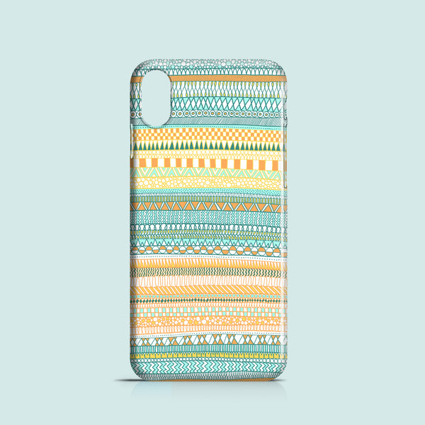 Orange and green doodle iPhone XR case