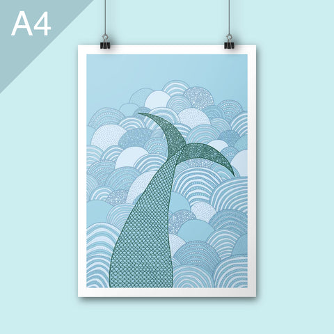 Mermaid tail A4 illustration print