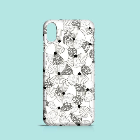 Monochrome poppy drawing iPhone XR case