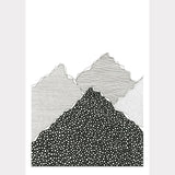 Monochrome Snow and hills A4 illustrated poster print
