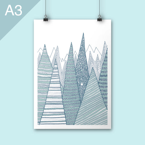 A3 art print of geometric mountains in teal colours