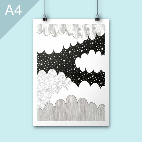 black and white cloud illustration print A4