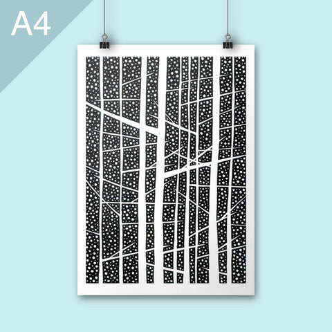 Black and white trees illustration poster print