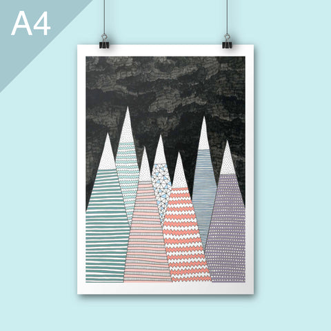 A4 illustrated poster print of pastel mountains on black background