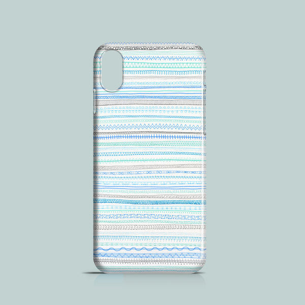 Baby blue doodle pattern iPhone XS case