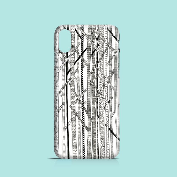 Monochrome trees iPhone XR case