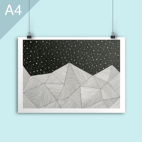 Stripe mountains A4 illustrated poster print