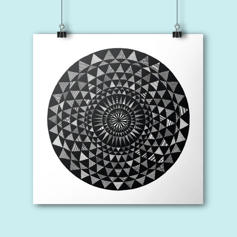 Mandala illustration square poster print