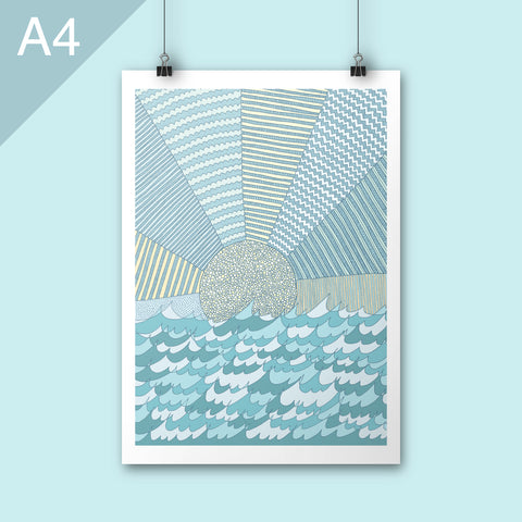 A4 Sunrise illustration poster print