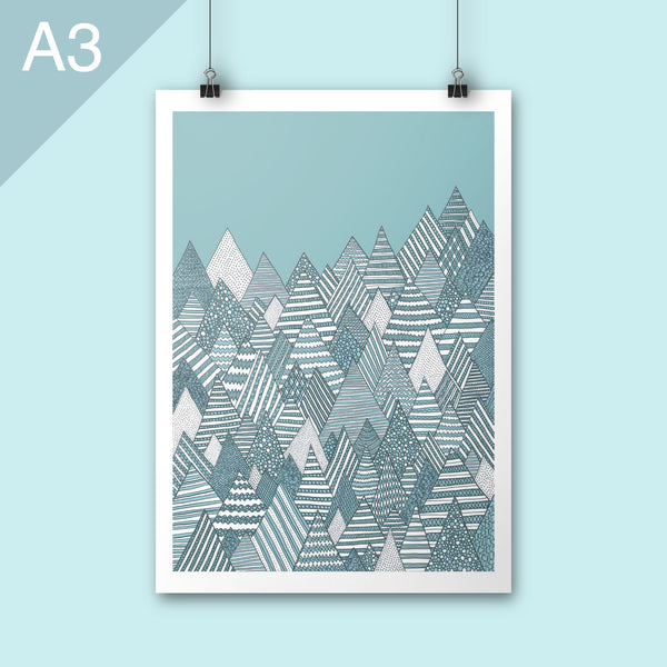 Winter forest illustration A3 poster art print